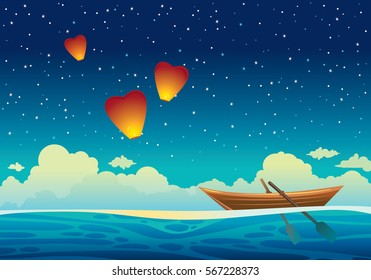 Cartoon wooden boat at the blue sea and three sky lanterns on a night starry background. Seascape vector illustration.