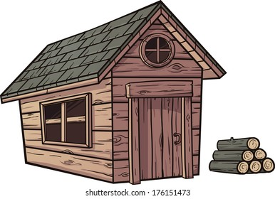 Cartoon wooden cabin. Vector clip art illustration with simple gradients. Cabin and wood logs on separate layer.