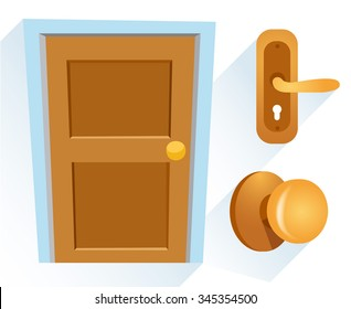 Cartoon Wooden Door : Vector Illustration