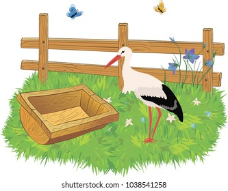 Cartoon wooden farm fence, trough with water, stork and grass with flowers.