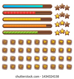 Cartoon wooden game assets, simple kit for game ui development, vector gui elements. Set of different elements for game: progress bar, menu buttons and icons, stars, levels.