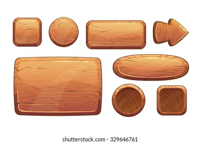 Cartoon wooden game assets,the kit for game ui development, vector gui elements