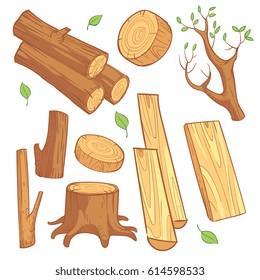 Cartoon wooden materials, lumber, firewood, wood stump vector set. Wooden material for firewood, illustration of natural wood log