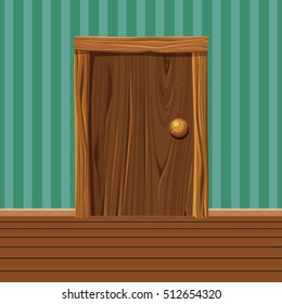 Cartoon Wooden old Door, Home Interior in vector