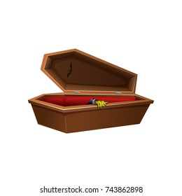 Cartoon wooden open coffin. Hand reaches out of the casket.