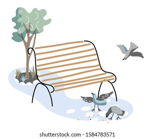 Cartoon wooden park bench under green tree. Place for summer rest outdoors. Birds crows and pigeons pecking grains, bread crumbs, seeds on ground. Natural design. Vector flat illustration