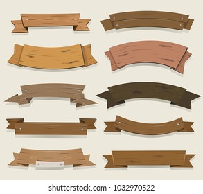 Cartoon Wooden Ribbons And Banners/ Vector illustration of a set of cartoon wood award ribbon and texas ranch banners, for agriculture and farmer seal and certificates