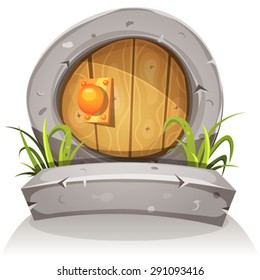Cartoon Wooden And Stone Fairy Door For Ui Game/ Illustration of a cartoon comic funny little rounded wood door with stone doorframe for fantasy ui game