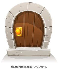 Cartoon Wooden And Stone Hobbit Door/ Illustration of a cartoon comic hobbit like funny little curved wood door with stone doorframe