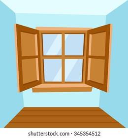 Cartoon Wooden Window : Vector Illustration