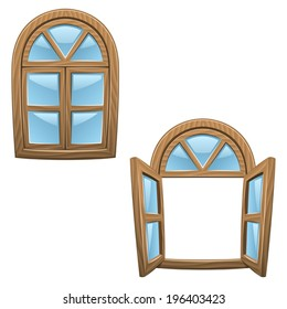 Cartoon wooden windows - closed and open (Vector)