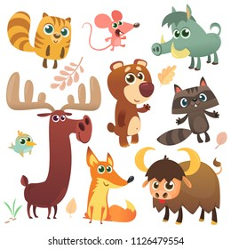 Cartoon woodland animals set. Vector illustratation. Squirrel, mouse, raccoon, boar, fox, buffalo, bear, moose, bird. Isolated. Design for children book, decoration, sticker, print, package, logo