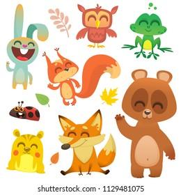 Cartoon woodland animals. Vector illustration. Big set of cartoon woodland animals illustration. Squirrel, owl,  bunny rabbit, frog, chipmunk, fox,  bear, ladybug. Isolated