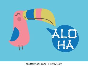 Cartoon woodpecker aloha summer print graphic design for baby