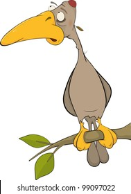 Cartoon woodpecker on a tree. Cartoon