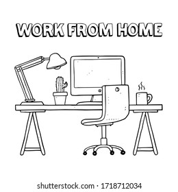 cartoon work from home in doodle style isolated on white background