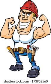 Cartoon worker flexing his muscles