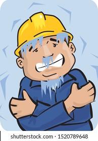 cartoon of a worker freezing