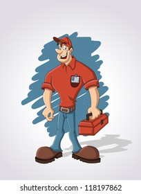 Cartoon worker with red tool box