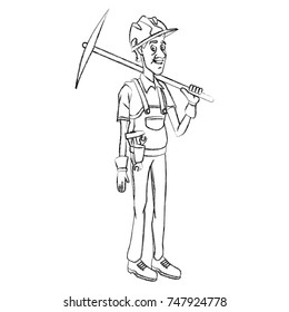 Cartoon worker with tool