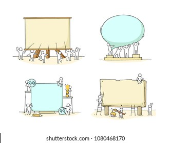 Cartoon working little people with big board. Doodle cute miniature scenes with space for text. Hand drawn vector illustration for business design and infographic.