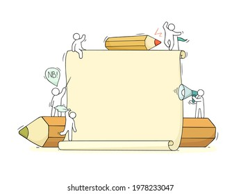 Cartoon working little people with big blank paper list. Doodle cute miniature scene with space for text. Hand drawn vector illustration for business design and infographic.
