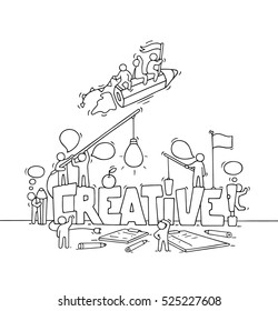 Cartoon working little people with big word Creative. Doodle cute miniature scene of workers about creativity and startup. Hand drawn cartoon vector illustration for business design