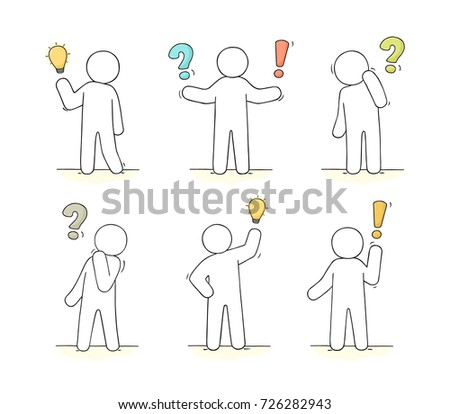 cartoon working little people communication signs stock vector
