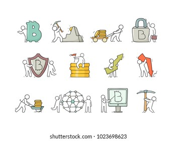 Cartoon working little people with cryptocurrency signs. Doodle cute miniature scenes about finance. Hand drawn vector illustration for business design.