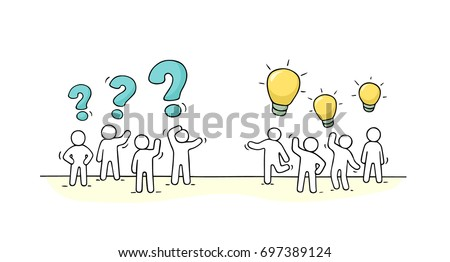 cartoon working little people thinking signs stock vector royalty