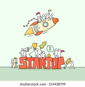 Cartoon working little people with word StartUp. Doodle cute miniature scene of workers with flying rocket. Hand drawn cartoon vector illustration for business design