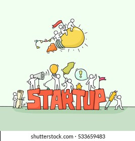 Cartoon working little people with word StartUp. Doodle cute miniature scene of workers with flying lamp idea. Hand drawn cartoon vector illustration for business design.