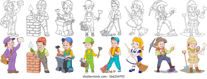 Cartoon working people set. Collection of professions. Mail man (postman), builder, blacksmith, plumber, cleaner, sweeper, gold miner, archaeological explorer. Coloring book pages for kids.