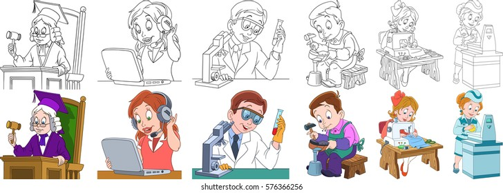 Cartoon working people set. Collection of professions. Judge, operator of call center, chemical scientist, shoemaker (cobbler), seamstress (tailor), supermarket cashier. Coloring book pages for kids.