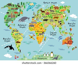 Cartoon world map with animal and sightseeing attractions