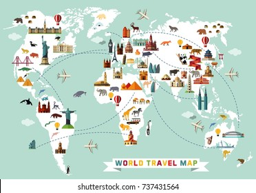 Cartoon world map with animal and sightseeing attractions. Vector Illustration.