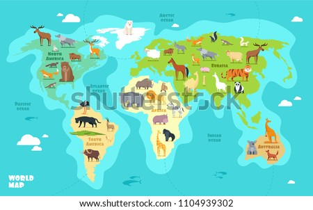 Cartoon World Map Animals Oceans Continents Stock Vector Royalty