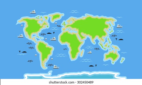 cartoon world map with details on sea
