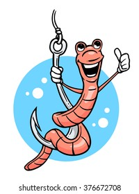 Cartoon worm giving thumb up on hook. Vector illustration