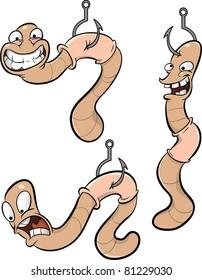 Cartoon worms on hooks