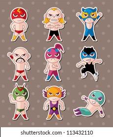 cartoon wrestler stickers