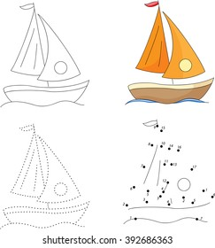 Cartoon yacht. Dot to dot educational game for kids