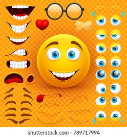 Cartoon yellow 3d smiley face vector character creation constructor. Emoji with emotions, eyes and mouthes set. Illustration of emoticon face smiley, creation smile mood