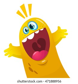 Cartoon yellow blob monster. Halloween vector illustration of excited monster