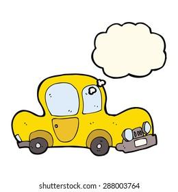 cartoon yellow car