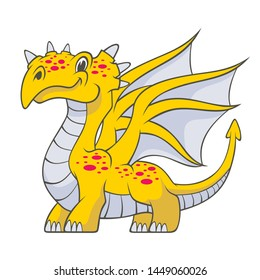Cartoon yellow dragon isolated on white background. Vector illustration for use as print, poster, sticker, logo, tattoo, emblem and other.