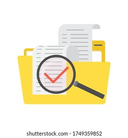 Cartoon yellow folder with documents, file searching. Big magnifying glass with red correctly mark. File manager, data storage and indexing. Files search. Flat design element. Vector illustration