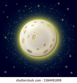 Cartoon yellow moon light starry night sky vector llustration. Evil spirit, mystical local beliefs and folklore idea. Twilight atmosphere, cover for stories about vampires and werewolves. Mystic light