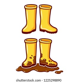 Cartoon yellow rubber rain boots, clean and dirty with mud puddle. Vector clip art illustration.