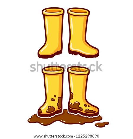 Cartoon Yellow Rubber Rain Boots Clean Stock Vector ... - photo #49